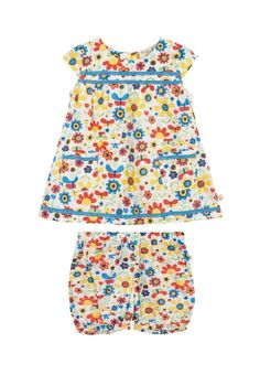 Save 50% - Now Only £14.00  This pretty play suit is perfect for summer days. The woven set with matching shorts is made from super soft organic cotton. There are two handy pockets on the front, poppers at the back.