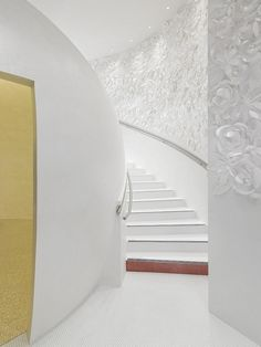 stairs leading to the Spa - love the 3D wall installation