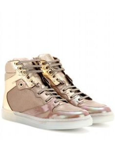 Metallic Leather High-Top Sneakers #hightops #offduty #covetme
