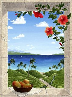 Dina Ferris Appel ~ Dreams of Hawaii- I like this idea. View from a window.