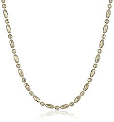 14k Yellow Gold DiamondCut Oval and Round Bead Mezzaluna Chain Necklace 18 -- Read more by visiting the link on the image.