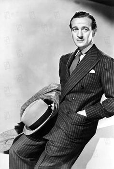 James David Graham Niven (1 March 1910 – 29 July 1983) was an English actor and novelist who was popular in Europe and in the United States. He won Best Actor for Separate Tables. The Pink Panther, Raffles, Around the World in 80 Days, The Bishop's Wife, Enchantment, My Man Godfrey, Charge of the Light Brigade, Bachelor Mother, The Moon is Blue, Bonjour Tristesse, Please Don't Eat the Daisies.