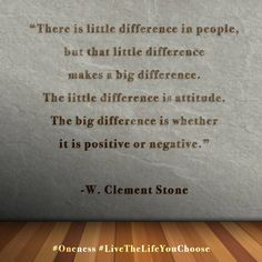 """""""There is little difference in people, but that little difference makes a big difference. The little difference is attitude. The big difference is whether it is positive or negative."""" – W. Clement Stone #Oneness #LiveTheLifeYouChoose"""