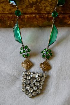 vintage assemblage jewelry | Vintage assemblage necklace Irish emerald by ... | Jewelry I adore!