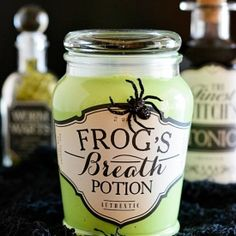 Halloween apothecary jars & link to a glow in the dark slime recipe. Makes a great Halloween party favor!