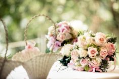 vintage wedding bouquet from roses on a table, soft focus stock photo