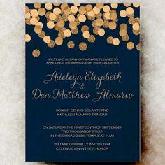Blue Gold Wedding Invitation Christmas Wedding Invitation