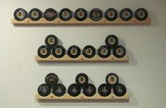 Great for displaying pucks! They have stick displays too! hockeystickhanger.com