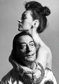 Salvador Dali with his wife, Gala, in 1964.
