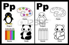 Kids Alphabet coloration page du livre avec d�crits clip-arts � la couleur. Lettre P photo