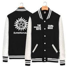 Black Supernatural fleece sweatshirt the Winchesters boys baseball uniform