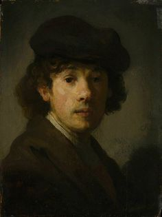 Self Portrait as a Young Man - Rembrandt van Rijn. Oil on panel. 22 x 17 cm. Metropolitan Museum of Art, New York City NY, USA. Rembrandt Self Portrait, Rembrandt Paintings, Man Portrait, Pencil Portrait, List Of Paintings, Art Paintings, Guache, European Paintings, Dutch Painters