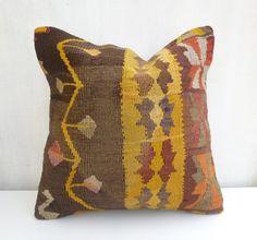 Brown and yellow Kilim pillow cover Bohemian by PillowTalkOnEtsy, $58.00