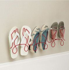 Footprint Wire Shoe Rack - For a cool way to keep your shoes organized and on display, try the Footprint Wire Shoe Rack. With its foot-shaped hangers, this metal rack is incr. Wall Mounted Shoe Rack, Space Saving Shoe Rack, Gifts For Women, Gifts For Her, Closet Shoe Storage, Shoe Racks, Rack Design, Shoe Organizer, Childrens Shoes