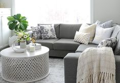 Living room featuring a mid-tone grey sectional. Muebles Shabby Chic, Shabby Chic Chairs, Shabby Chic Dining, Shabby Chic Living Room, Shabby Chic Bedrooms, Shabby Chic Kitchen, Shabby Chic Homes, Shabby Chic Furniture, Shabby Chic Apartment
