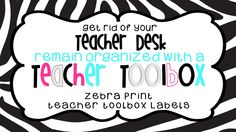 ZeBrA PrInT - Teacher Toolbox Label for STACK-ON 22 Drawer Toolkit $ Save time!  Just print, cut and tape.