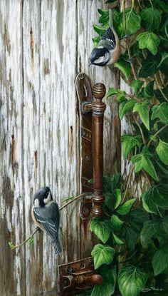 coal tits brass handle by Jeremy Paul Nature Artwork, Bird Artwork, Scratchboard Art, Hyper Realistic Paintings, Bird Pictures, Watercolor Bird, Art And Illustration, Wildlife Art, Texture Art