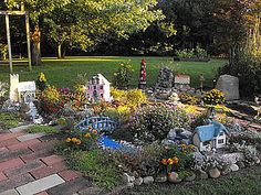 """Donna's In-ground Miniature Garden - """"Wee Balle"""" - Long Island, NY ~ Donna created an impressive complete village - WOW!"""