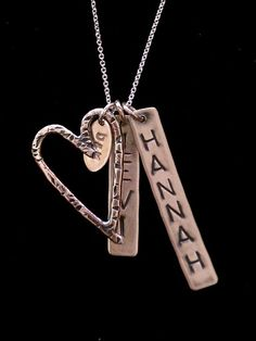 Mother's Day - Mother/Mom Necklace with Heart and Kid(s) Name Tags by Casual Gal Silversmith