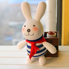 Handmade Sock Bunny with Red Scarf [DIY Kit OR Finished Item] - Eleturtle