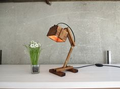 A stylish wooden desk/table lamp MADE TO ORDER. I name the lamps in my collection by the row I create them. This one is called Kran VI beta (the beta only means the cable has no twine around it). Each one is carefully handcrafted by me especially for its owner.  Place it on your bedside to read...