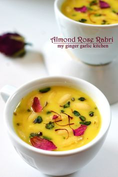 Almond Rose Rabri With a dash of saffron and pistachio nuts