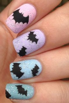 DIY Halloween nail art so good you may forgoe the costume all together. Pictured: Beautiful Bats
