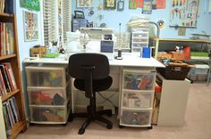 LINDA KITTMER'S FIBRE ART, PHOTOGRAPHY & JOURNALLING: STUDIO TOUR Plastic rolling drawer systems fit under the lift up extension of my sewing table, allowing more storage and a second work surface for when a friend joins you in the studio.
