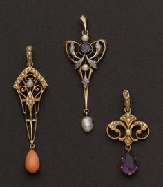 Art Nouveau 3 pendants - all 14k gold, 50 mm pearl & corral drop, sapphire & pearl Art Nouveau & drop, pearl & amethyst 33 mm drop  http://indulgy.com/