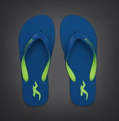 0082e0656c79 Hollister by Abercrombie and Fitch! Mens Blue Flip Flops Sandals US Small  9 10