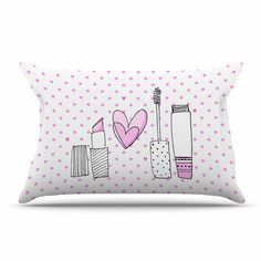 "MaJoBV ""Girls Luv"" Pink Makeup Pillow Sham"