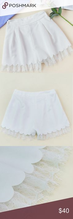 """LACE TRIMMED SHORTS BRAND NEW lace trimmed pleated tailored shorts size SMALL, zipper fly, casual and elegsnt, 100% polyester, mid waist, wide leg, fabric has NO stretch WAIST 27"""" HIP 38"""" Length 14"""" THIGH 27"""" PLEASE ALLOW A GIVE OR TAKE ON MEASUREMENTS BOUTIQUE Shorts"""