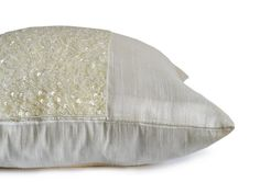 Decorative Throw Pillow Cover Ivory Cream Silk by AmoreBeaute