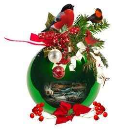 """Winter Cardinals Arrangement on a Ball Ornament"" by ragnh-mjos ❤ liked on Polyvore featuring art"