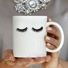Eyelash Coffee Mug Girly Gift for Her Illustration Coffee Friends Coffee Mug, Coffee Lover Gifts, Gifts In A Mug, Unique Coffee Mugs, Funny Coffee Mugs, Best Coffee, Coffee Coffee, Coffee Cups, Gifts For Makeup Lovers