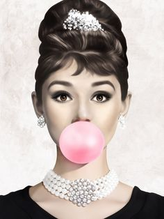 Audrey Hepburn Bubble Gum Digital Print, Bubblegum Pop Art, Breakfast at Tiffany Print, Fashion Wall Art , Audrey Hepburn Kunst, Audrey Hepburn Wallpaper, Desenio Posters, Pop Art, Farmasi Cosmetics, Bubblegum Pop, Pink Bubbles, Black And White Aesthetic, Fashion Wall Art