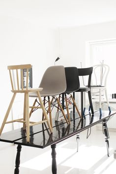 Love the idea that you don't have to use the same chairs around the table