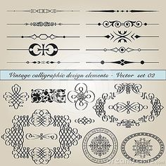 Vintage calligraphic design elements by Paulrommer, via Dreamstime
