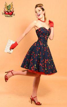 Rockabilly Cherry Bomb dress by TicciRockabilly on Etsy from TicciRockabilly on Etsy. Saved to Rockabilly in Theory. Moda Rockabilly, Moda Pinup, Rockabilly Outfits, Rockabilly Fashion, Retro Fashion, Vintage Fashion, Rockabilly Clothing, Rockabilly Girls, Pin Up Fashion
