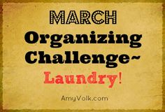 March Organizing Challenge - LAUNDRY! Professional organizer Amy Volk of Simplified Living was our guest at a MOPS meeting. Laundry was a BIG source of questions and comments from the moms. Get on board for Amy's challenge to finally CONQUER MOUNT WASHMORE!