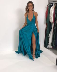 Sexy Halter Backless Turquoise Long Evenig Dress with Slit - sexy deep v neck teal long prom dress with side slit, 2019 backless prom dress, halter wrap dress, formal evening dress Source by -