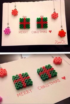 Easy & super quick to make! Frugal Christmas, Christmas Crafts For Kids, Christmas Activities, Christmas Cards, Christmas Ideas, Xmas, Christmas Perler Beads, Diy Perler Beads, Hama Beads Patterns