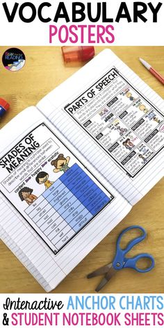 Vocabulary Posters, Interactive Vocabulary Anchor Charts & Student Notebook Sheets! Includes a parts of speech poster, synonyms and antonyms poster, shades of meaning poster, roots and affixes poster, and greek and latin roots poster! Vocabulary Activities | Vocabulary Printables | Greek and Latin Roots Anchor Chart | Parts of Speech Anchor Chart | Synonyms and Antonyms Anchor Chart | Shades of Meaning Anchor Chart