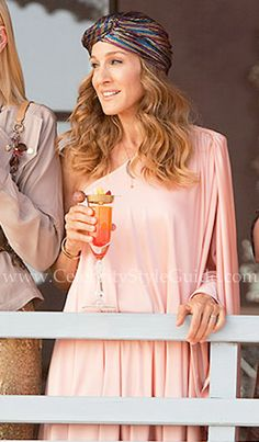 Halston Heritage One Shoulder Mini Caftan in Peach (what else would one wear to dubai)
