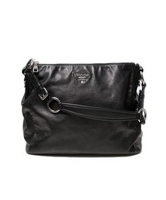 7ace52abeb8d Labellov Vintage Prada Black Leather Shoulder Bag ○ Buy and Sell Authentic  Luxury