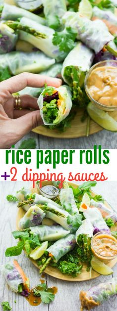 Thai Style Rice Paper Rolls with Two Dipping Sauces. Easy fresh simple and utterly delicious! So many tips ideas and varieties to make these for a special occasion or quick snack! get the recipe www. Asian Recipes, Beef Recipes, Vegetarian Recipes, Cooking Recipes, Ethnic Recipes, Savoury Recipes, Cooking Food, Good Healthy Recipes, Vegan