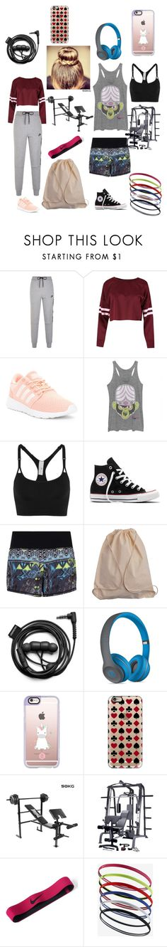 """""""Gym Essentials"""" by a-dreamer-of-impossible-dreams ❤ liked on Polyvore featuring NIKE, adidas, Converse, Sweaty Betty, Forever 21, Beats by Dr. Dre and Casetify"""