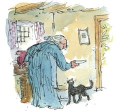 Quentin Blake's illustration of the new Kitty-in-Boots, the never-published story by Beatrix Potter, publication September 2016.