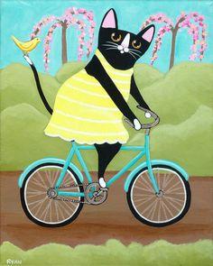 Spring Cat on a Bicycle Original Folk Art by KilkennycatArt