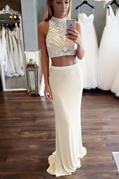Pale Yellow Two Piece High Neck Sleeveless Beading Prom Dress,Trumpet Formal Dresses M1256 - US 6 / Black